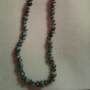 A handmade gemstone and beaded necklace